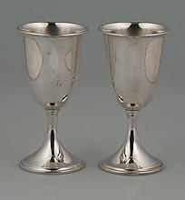 Group of four sterling silver wine goblets by S. Kirk and Sons, 6