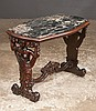 Mahogany marble top cocktail table with carved figures on each end of the base, carved stretcher and scroll carved feet, c.1920, 28