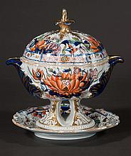 Masons ironstone sauce tureen and platter with cobalt blue, green, yellow and bittersweet floral decoration, c.1840, 7