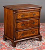Chippendale walnut bachelors chest with cross-banded top, pull out slide, fluted chamfered corners and bracket feet, c.1800, 30