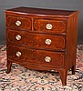 Small Sheraton mahogany bow front chest with string satinwood inlay, two small drawers over two full graduated drawers and splay feet, c.1830, 35