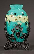 Green French art glass vase, signed