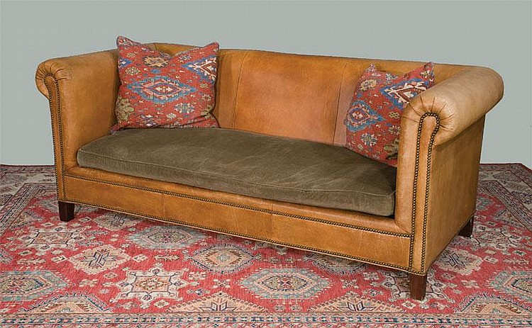 Henredon Chesterfield Style Leather Sofa By Ralph Lauren Wit