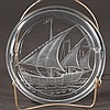 Signed Lalique crystal ash tray with a clipper ship design, 7