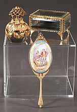 Three piece collection of vanity items including a small glass footed jewelry casket, a 4
