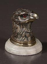 Bronze inkwell in the form of an eagle head mounted on a marble base, 4