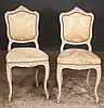 Pair of Louis XV style carved and decorated side chairs with carved backs and carved aprons, c.1900, 18