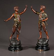 Pair of 19th century French spelter statues of young men, one titled