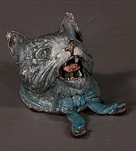 Vienna cold painted bronze depicting a cat with bow at neck and hinged head revealing inkwell, 4