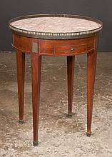 Regency style circular occasional table with rouge marble top and bronze gallery on square tapered legs, 24