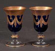 Set of eight cobalt blue and gold Venetian style goblets, from Neiman Marcus, 6.5