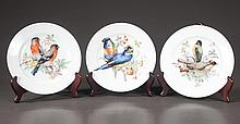 Set of six Bavarian china plates with bird decoration, 8