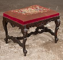 Carved stool with scroll and acanthus decoration having needlepoint tapestry on cabriole legs and scroll feet joined by stretcher, 23.50
