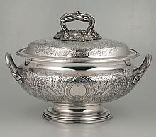 Elkington silver plated soup tureen with grape, floral and scroll decoration, c.1920, 14