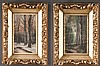 Pair of 19th century forest scene paintings of summer and winter, canvas size is 12