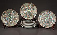 Group of 12 Chinese rose medallion plates with multicolor, bird and floral decoration, c.1880, 8.5