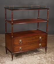 Sheraton style mahogany serving trolley with brass gallery and two drawers on the base, by Kittinger Furniture Co., 38