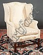 Chippendale style mahogany wing chair on straight legs with stretcher, 27