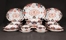 Set of Royal Crown Derby china with cobalt blue, gold and bittersweet, floral decoration, c.1900, 86 pieces