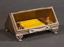 Triangular shaped Matson style jewelry casket having amber bevelled hinged glass with tufted velvet interior, 9