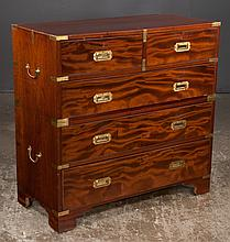Two part brass bound mahogany campaign chest with recessed brass pulls, two small drawers over three full graduated drawers on bracket feet, c.1860, 40