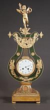 Louis XVI style bronze and marble lyre form mantle clock with porcelain dial, wide, 4