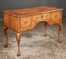 Queen Anne burl walnut lowboy with cross-banded top and herringbone inlay on cabriole legs with pad feet, c.1880, 45