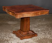 American Empire mahogany library table with serpentine shaped sides and pedestal base, c.1890, 33