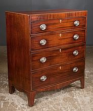 Sheraton mahogany chest with four graduated drawers and shaped apron, c.1860, 36