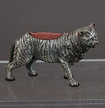 Cold painted bronze depicting a standing cat with back fitted as pin cushion, 5.5