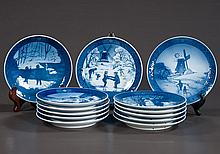 Collection of 13 blue and white Royal Copenhagen Christmas plates, 7