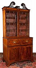 Exceptional Sheraton mahogany secretaire bookcase with pierced broken arch pediment, mullion glass doors, good fitted interior and bracket feet, c.1790, 46