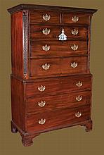 Chippendale mahogany chest on chest with dentil crown moulding, blind fret carved corners and bracket feet, c.1780, 42