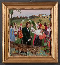 Oil painting on board, Russian Harvest Festival scene by Grigori Andreevich Gonchrrov, Russian 1913-2001, board size 12.5