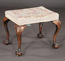 Chippendale style walnut stool on cabriole legs with shell carved knees and ball and claw feet, c.1890, 24