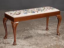 Queen Anne mahogany piano stool with needlepoint cushion, cabriole legs with shell carved knees and pad feet, c.1900, 37