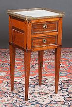 Louis XVI style walnut marble top two drawer stand with pierced brass gallery on square tapered legs, c.1860, 15