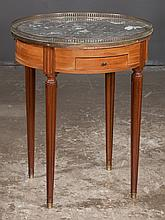 Louis XVI style walnut marble top circular salon table with two drawers, two candle slides and pierced brass gallery on tapered fluted legs, c.1890, 24