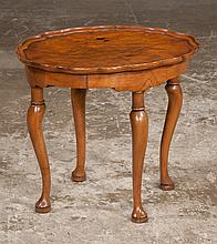 Small Queen Anne style walnut side table with oval pie crust top on cabriole legs with pad feet, c.1890, 19