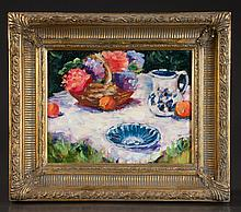 Oil painting on board of picnic scene with flowers in a basket, unsigned, panel size 8