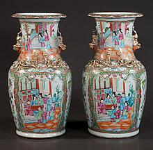 Pair of Chinese rose medallion vases with palace scene, figural and floral decoration, c.1840, 14