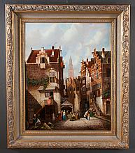 Oil painting on canvas, city street scene in the Netherlands by Cowen, canvas size 30
