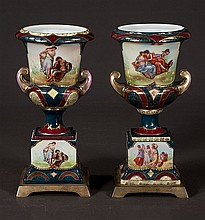 Pair of 19th century Royal Vienna porcelain urns with scenic and figural decoration, 9