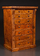 English burl walnut seven drawer