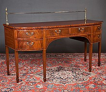 Inlaid Sheraton mahogany sideboard with brass gallery, cross-banded top and on square tapered legs with spade feet, c.1790, 72