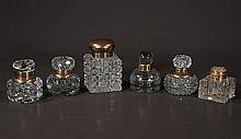 Group of six English cut crystal inkwells, c.1900