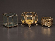 Collection of three Matson style jewelry boxes including a circular bevelled glass box, 6