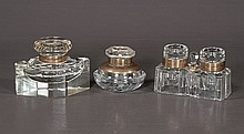 Double English crystal ink well with brass mounts, a diamond shape crystal inkwell and a round paper weight form crystal inkwell, c.1900, three pieces