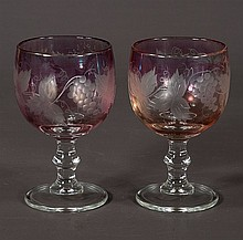 Set of eight Bohemian overlay wine goblets, c.1920, 6