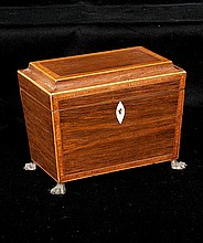 Inlaid Sheraton mahogany tea caddy with coffered top and good fitted interior, c.1860, 8